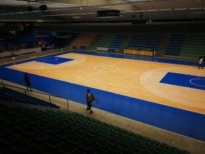 Rénovation du parquet du club de basket-ball de Quimper l'UJAP Quimper Basket